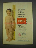 1955 Hanes Slipper Sole Sleeper Ad - Room To Grow