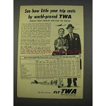 1955 TWA Airlines Ad - See How Little Your Trip Costs