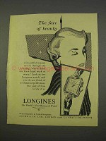 1955 Longines Watch Ad - The Face of Beauty