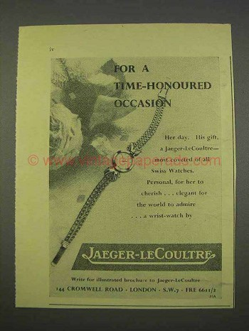 1955 Jaeger-LeCoultre Watch Ad - Time-Honoured