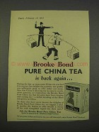 1955 Brooke Bond Pure China Tea Ad - Is Back Again