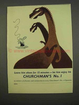 1955 Churchman's No  1 Cigarette Ad - Leave Him Alone