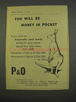 1955 P&O Cruise Ad - Will Be Money In Parket