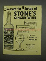 1955 Stone's Original Green Ginger Wine Ad - 3 Reasons