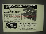 1955 Conn Minuet Spinet Organ Ad - Easy-to-Play