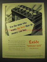 1954 Exide Double-Life Car Battery Ad - The Best