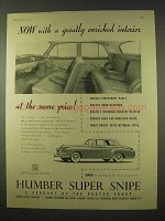 1954 Humber Super Snipe Car Ad - Enriched Interior