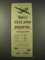 1954 BOAC Airline Ad - Airliner Going Your Way