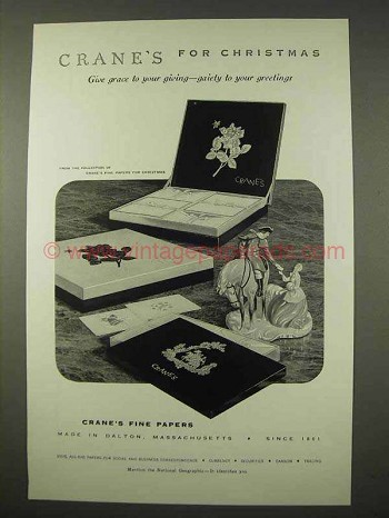 1954 Crane's Fine Papers Ad - For Christmas