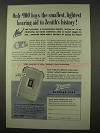 1954 Zenith Royal-M Hearing Aid Ad - Smallest, Lightest