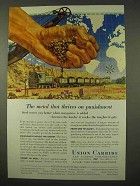 1954 Union Carbide Ad - Metal Thrives on Punishment
