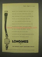 1954 Longines Watch Ad - World's Most Honoured