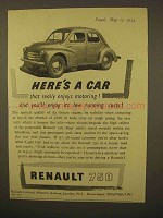 1954 Renault 750 Car Ad - Really Enjoys Motoring!