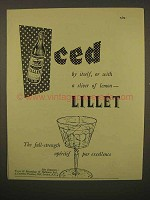 1954 Lillet Liqueur Ad - Iced