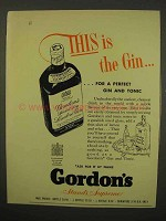 1954 Gordon's Gin Ad - For a Perfect Gin and Tonic