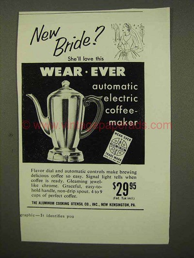 1954 Wear-Ever Automatic Electric Coffee-Maker Ad