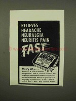 1954 Anacin Tablets Ad - Relieves Headache Fast