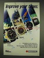 1986 Citizen Watch Ad - Aqualand, Windsurfing, Jogging