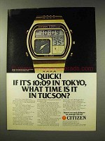 1980 Citizen Quartz Digi-Ana Alarm Watch Ad - Quick!