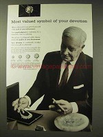 1957 De Beers Diamond Ad - Symbol of Devotion