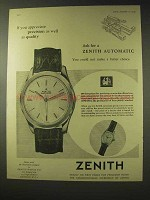 1957 Zenith Automatic Watch Ad - Precision as Quality