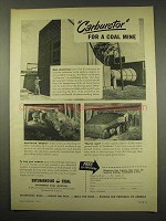 1949 Bituminous Coal Ad - Carburetor for a Coal Mine