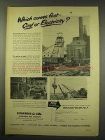 1949 Bituminous Coal Ad - Which Comes First?