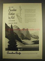1949 Canadian Pacific Railroad Ad - See Rockies by Rail