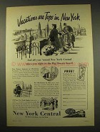 1949 New York Central Railroad Ad - Vacations are Tops