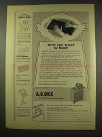 1949 A.B. Dick Mimeograph Ad - Write Stencil By Hand