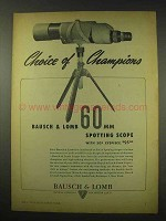 1949 Bausch & Lomb 60mm Spotting Scope Ad