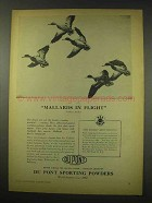 1949 Du Pont Sporting Powders Ad - Hans Kleiber - Mallards Flight