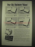 1949 American Stationery Ad - Four Big Values