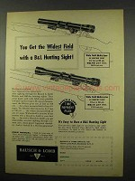 1957 Basuch & Lomb Rifle Scope Ad - BALfor, BALsix