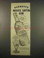 1957 Burnett's White Satin Gin Ad