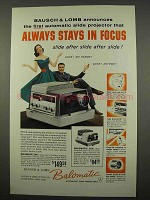 1957 Bausch & Lomb Balomatic 500 Slide Projector Ad
