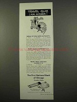 1957 First National Bank of Chicago Travelers Checks Ad