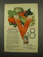 1957 V-8 Vegetable Juice Ad - Gardenful of Flavor