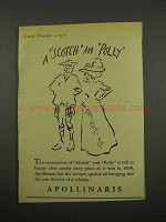 1957 Apollinaris Water Ad - A Scotch and Polly