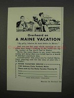 1957 Maine Tourism Ad - Overheard on Vacation