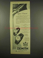1956 Zenith Ref. 206, Ref. 302 Watch Ad - Space Travel