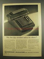1956 Marchant Calculator Ad - Outlive the Others