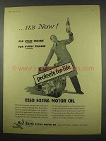 1956 Esso Extra Motor Oil Ad - Protects for Life