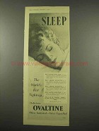 1956 Ovaltine Drink Ad - World's Best Nightcap