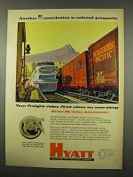1956 Hyatt Hy-roll Roller Bearings Ad - Railroad
