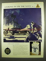 1956 Senior Service Cigarettes Ad - Night Deck Landing