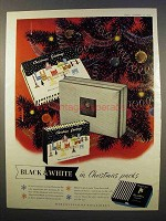 1956 Marcovitch Black & White Cigarettes Ad - Christmas