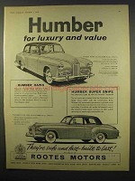 1956 Humber Hawk, Super Snipe Car Ad - Luxury