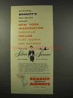1956 Braniff Airways Ad - Announcing New Service
