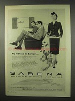 1955 Sabena Airlines Ad - Fly With Us To Europe